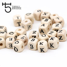 8mm Square Natural Wooden Letter Beaded For Kids Bracelet Making Cube English Alphabet Wood Beads Wholesale W301(China)