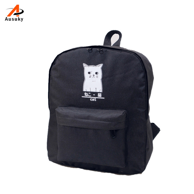 Ausuky Brand Cat Print College Style Casual Backpack Women Girls Cute  Cartoon Backpack School Canvas Bags For Teenager 45 cf3c0f81c4eb6