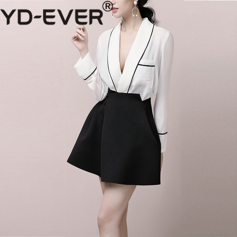 Sext V neck Shirt Wide Leg Short Suits Women Long Sleeve Shirt Blouse Tops Female High Waist Shorts Two Piece Sets