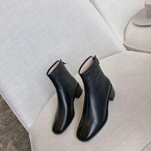 Image 2 - ALLBITEFO naturale del cuoio genuino tacchi alti stivali di cuoio delle donne punta quadrata tallone spesso caviglia stivali per le donne nuovi stivali invernali