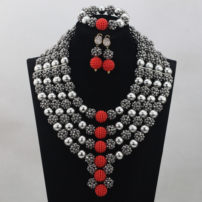 Silver/Red Bridal Jewelry Sets African Costume Nigerian Wedding Beads 2017 Hot Sale Balls Lace Jewlery Set Free ShippingABH025 2018 hot sale nigerian african lace fabrics french guipure tulle gold line bridal lace fabric for wedding party dress 5yds c8415