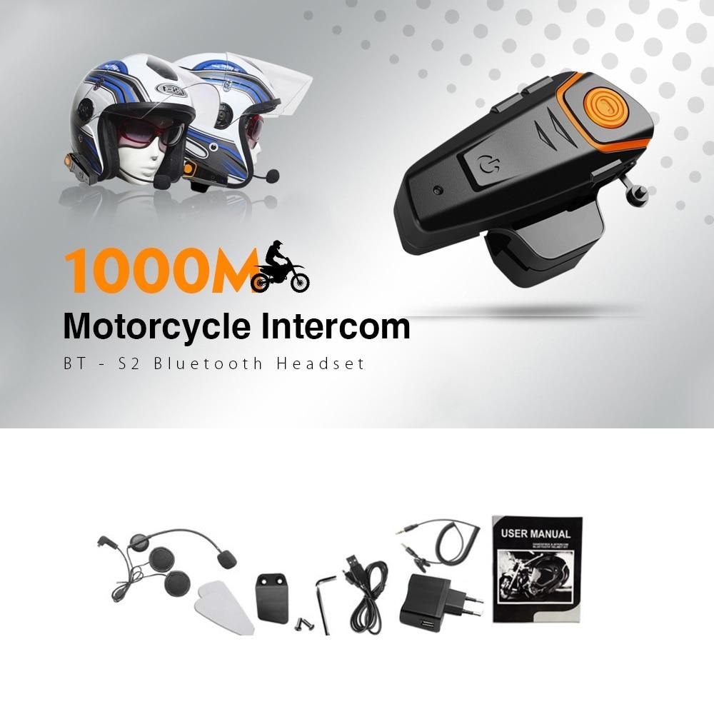 BT-S2 Bluetooth Headset 1000m Motorcycle helmet Intercom Waterproof Hands-free Calling with FM EU Plug