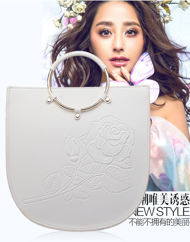 Qiao Duo Wristlet Print Rose Engraving PU Handbag Sweet Lady Leisure All Match Handbags for Party Travelling Daily Totes