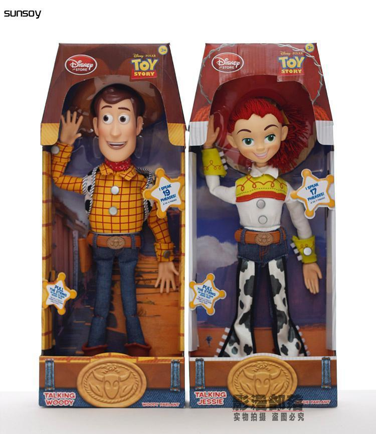 Toy Story 3 Talking Woody Jessie PVC Action Figure Collectible Model Toy Doll for kids best christmas gift 4pcs set anime toy story 3 buzz lightyear woody jessie pvc action figure collectible model toy kids gifts 14 5 18cm zy468