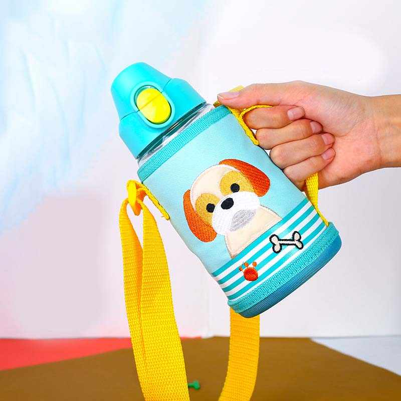2 Lid Baby Trainer Cup 580ml Newborn Baby Milk Cup Straw Type Cup Kids Children Baby Feeding Drinking Water Cup with Bag