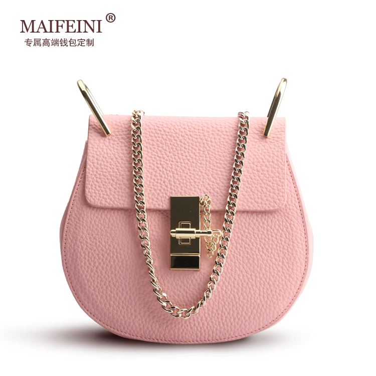 MAIFEINI European and American Style New Fashion Mini Shoulder Bag Genuine Leather Lock Circular Chain Crossbody Bags for woman  creative new brand women retro genuine leather shoulder bag european and american style woman bag postman package with rivets