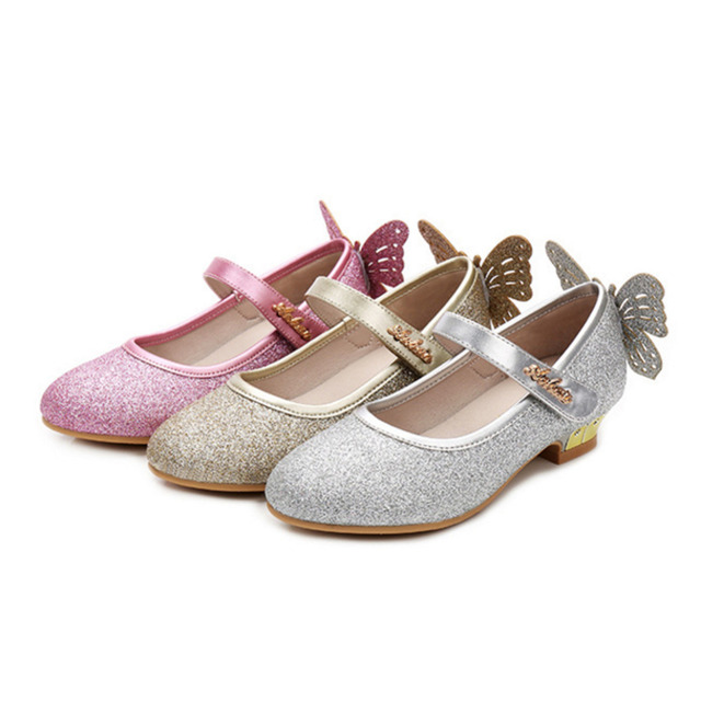 0ea3e545d45da Girls Butterfly High Heel Sandals Kids Rhinestone Princess For Party  Wedding Children Glitter Dance Shoes-in Leather Shoes from Mother   Kids on  ...