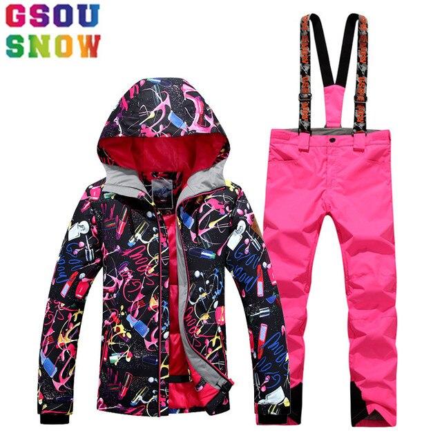 c5475b0bc91bb GSOU neige marque Ski costume femmes imperméable veste de pantalon hiver  montagne dames plein air Snowboard Sport vêtements
