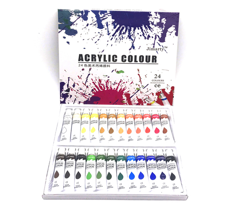 24Colors 12ML /Tube Acrylic Paints Set Wall Painting Color Art Painting Fabric Drawing Set (no Paint Brush Palette )