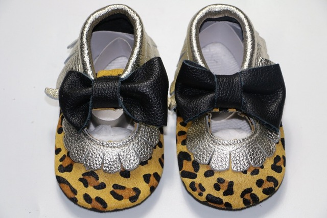10pairs/lot New soft sole Genuine Leather Leopard Baby Moccasins with bow-tie kids girl mary jane Shoes non-slip Infant toddler