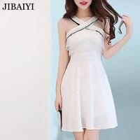 Elegant chiffon mini dress summer sleeveless female party Clothing woman sundress halter voile high waist white black A type fit