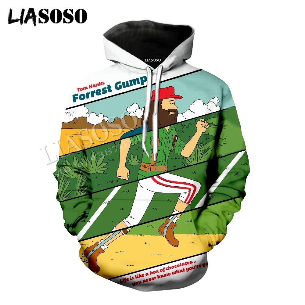 LIASOSO latest 3D print cozy polyester sportswear set classic famous movie Forrest Gump Run men women T shirt tees hoodie CX820