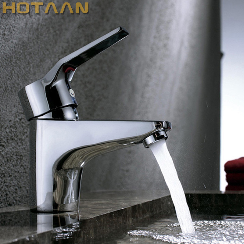 купить HOTAAN Free Shipping Single Handle one hole Bathroom Basin Faucet Hot and Cold Copper Vessel Sink Water Tap Mixer Chrome Finish по цене 1468.07 рублей