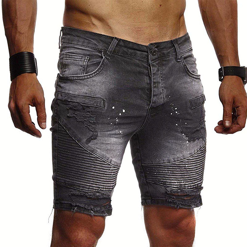 Summer Denim Shorts Fashion Washed Ripped Hole Shorts Casual Slim Fit High Quality Solid Color Men's Shorts Plus Size XXL