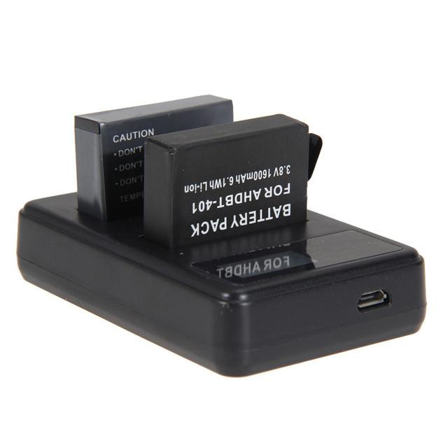 1 unids adaptador de cargador usb con pantalla led + 4pcs1600ma batería con cable de carga usb para cámara gopro hero 4