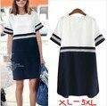 Verão mulheres roupas Plus Size 5 XLBodycon roupa vestido de algodão de manga curta Chiffon ponto de vestido vestidos