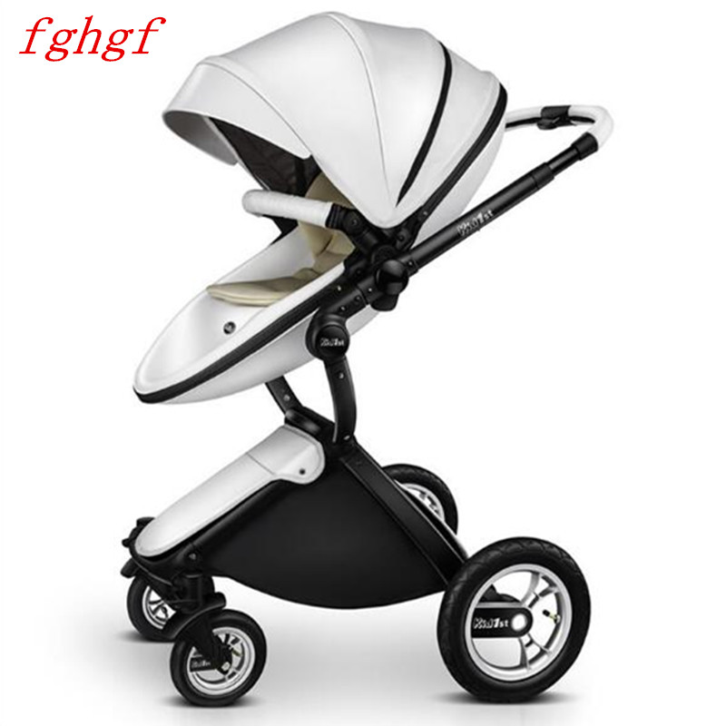 High landscape baby stroller leather two-way shock baby carriage can sit can lie baby trolley все цены
