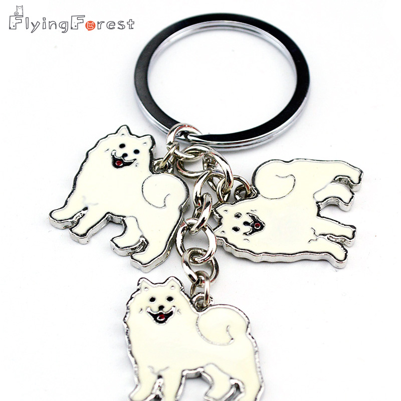 HOT Samoyed Animal Keychains Dogs Keychain Silver Pendant Charm Handmade Gifts For Pet Lovers Dog Jewelry Woman Key Ring Holder