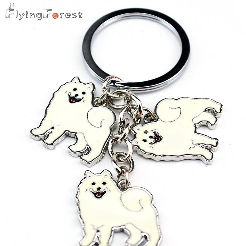 Hot Samoyed Animal Keychains Câini brelocul Pandantiv argint Charm Cadouri realizate manual pentru iubitorii de animale de companie Bijuterii pentru câine Femeie