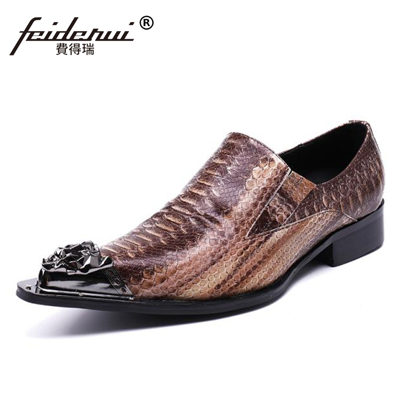 Plus Size Luxury Alligator Pointed Toe Slip on Man Wedding Party Loafers Genuine Leather Men's Runway Dance Shoes For Male SL115