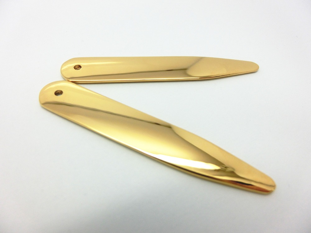 SHANH ZUN 24K Gold Plated Stainless Steel Bones Collar Stays Pack With Black Non-woven Fabric