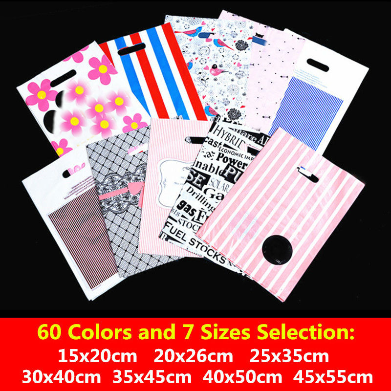 10pcs 25x35 30x40cm 35x45cm Supermarket <font><b>Plastic</b></font> <font><b>Bag</b></font> Clothes Packaging <font><b>Gift</b></font> <font><b>Bags</b></font> <font><b>With</b></font> <font><b>Handles</b></font> Storage Jewelry <font><b>Bags</b></font> Party Supplies image