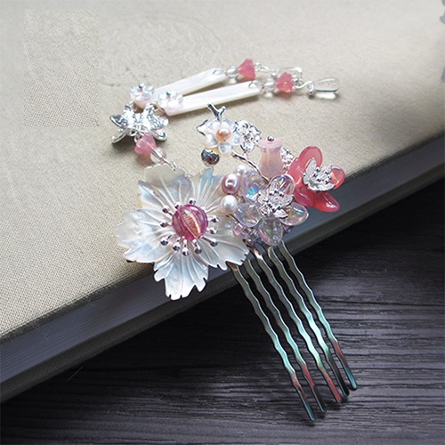 Shell Flower Glaze Petal Hair Comb Costume Hanfu Hair Accessory Hair Comb for Women 5 inch hair comb for pets cats