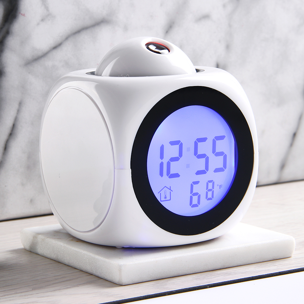 LCD Projection LED Display Time Digital Alarm Clock Voice Prompt  With Snooze