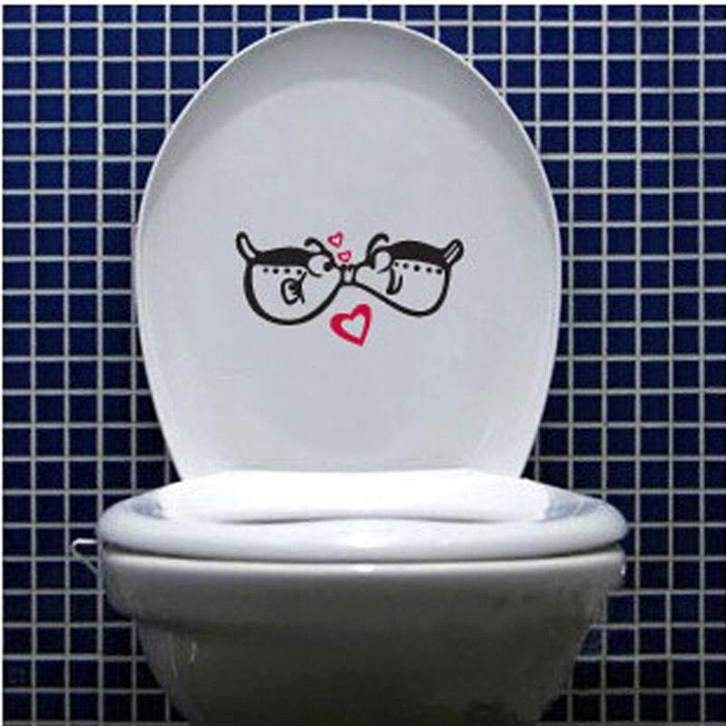 Мило любовь поцелуй рыба туалет/стены Стикеры s Ванная комната украшения дома ПВХ искусства Переводные картинки смешно водонепроницаемый н...