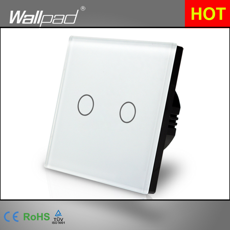 Smart Home Wallpad EU UK Standard 110~250V LED White 2 Gang 1 Way Electrical Touch Screen Panel Lighting Switch Free Shipping smart home uk standard crystal glass panel wireless remote control 1 gang 1 way wall touch switch screen light switch ac 220v