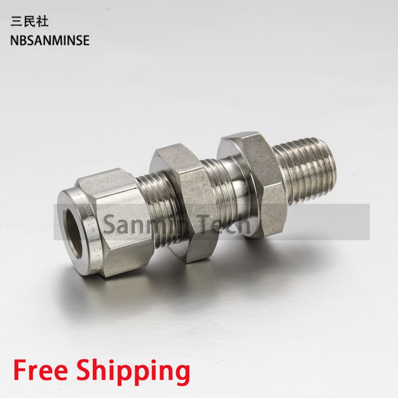 5Pcs/Lot BMC 1/8 1/4 3/8 1/2 3/4 1 Coupling Blkhead Male Connector Stainless Steel Tube Plumbing Pneumatic Air Fitting Sanmin