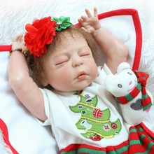 57cm Full Body Silicone Reborn Baby Doll Toys  children birthday gift  sleeping alive bebe girl boy reborn bonecas Brinquedos