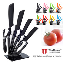 "ceramic knife set 6"" 5"" 4"" 3"" Timhome Brand Zirconia ceramic kitchen knvies set with knife block+ceramic peeler(China)"