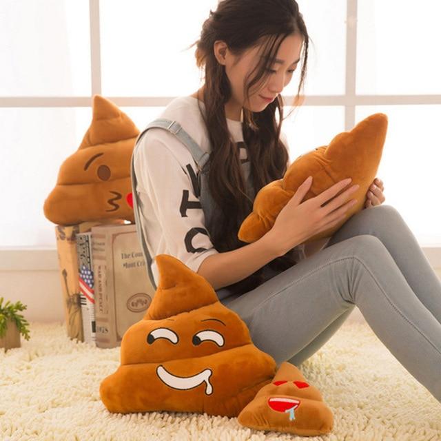 Cute Stuffed Plush Toy 5 Types Mini Emoji Pillow Cushion Poop Shape Pillow Doll Toy Throw Pillow Amusing emotion Poo Cushion