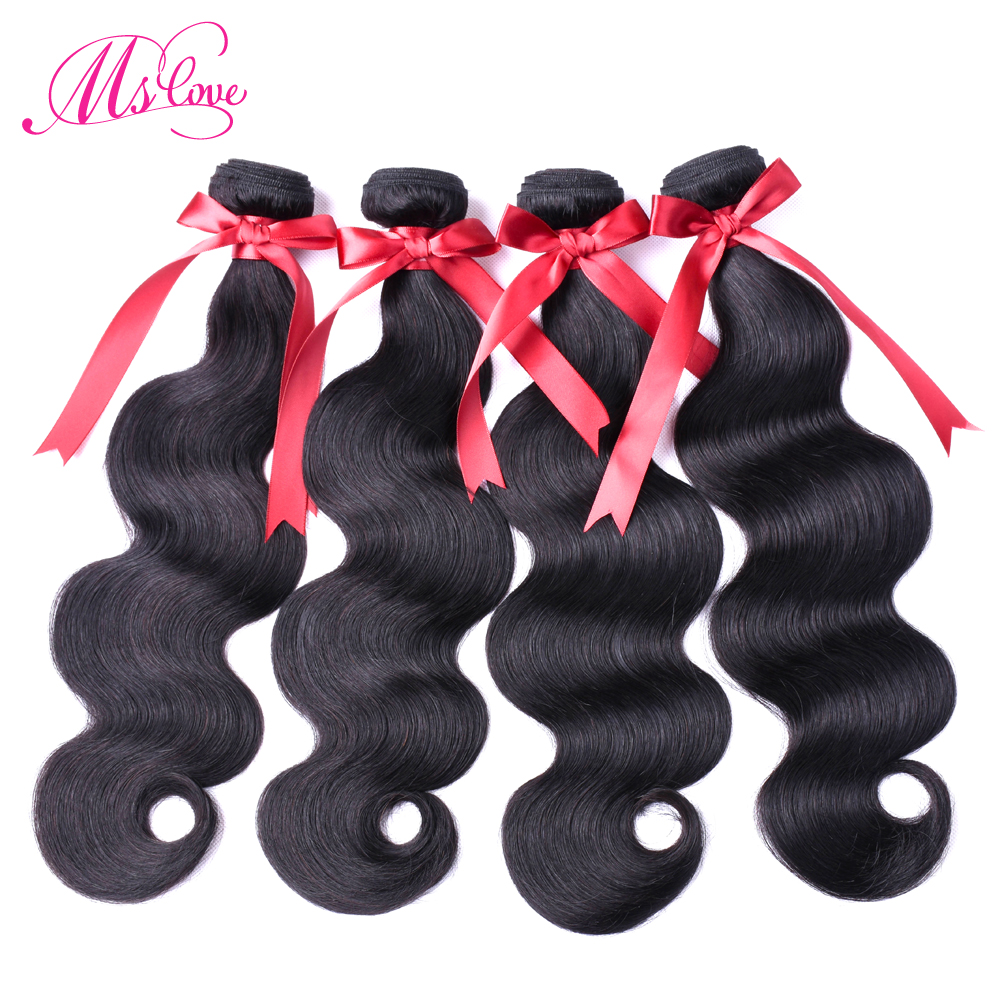 Ms Love Peruvian Hair Body Wave 4 Bundles 100% Human Hair Weave Natural Color Non Remy Hair Extensions 100 Gram