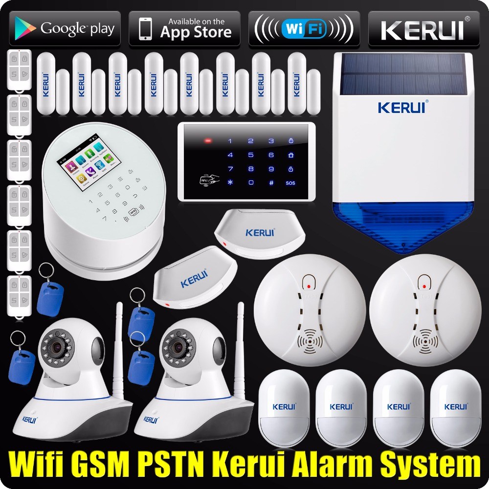 DHL EMS Free Shipping WiFi GSM PSTN RFID Security Alarm System Solar Siren IP Camera ISO Android App Smoke Detector dhl ems free shipping 5pcs lot new 2 4g dc5v wifi led controller with usb cable compatible by iphone ipad and android system