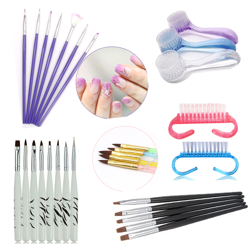 Putimi 5pcs Tools For Nail Brush Acrylic UV Gel Nail Art Brushes For Manicure Design Painting Pen Push Nail Polish Brushes Liner