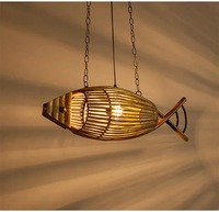 Bamboo creative fish type Pendant Lights weaving restaurant pastoral bedroom lamp lamp southeast led bamboo lamp ZA zb34