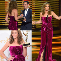 66th Emmy Awards Red Carpet Couture Alison Jenny Celebrity Dresses with Bateau Backless Fuchsia Velvet Evening Gown