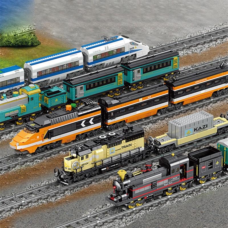 5 Types City Train Station Rail Model Building Blocks Sets legoinglys Technic Creator Railway Track Trains Bricks Toys For Kids