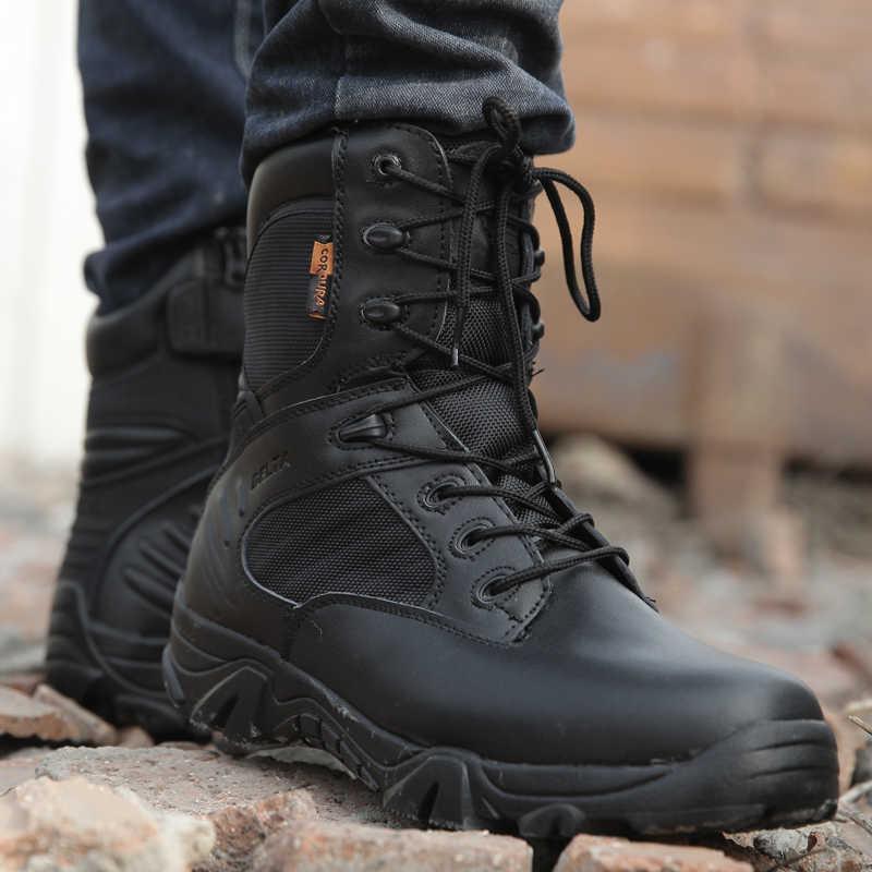 Outono inverno Homens Botas Militares Qualidade Barcos de Trabalho Exército Força Especial de Combate Tático Deserto Tornozelo Sapatos de Couro Botas de Neve