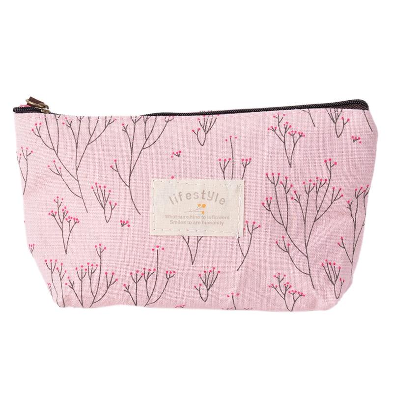 Makeup-Case Purse-Bag Pouch Organizer Travel Toiletry Beauty Floral Pastoral-Style Women