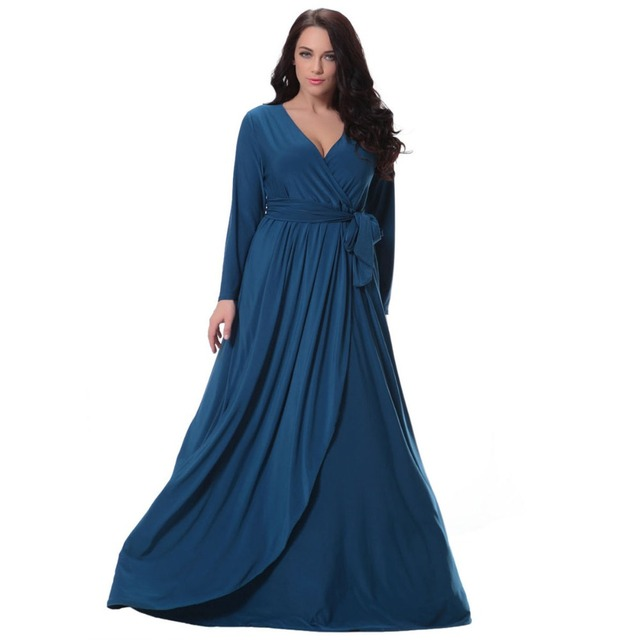 Autumn Winter Women Dress Long Sleeve Deep V Neck Waist Belt Floor Length Dressing  Gown Big