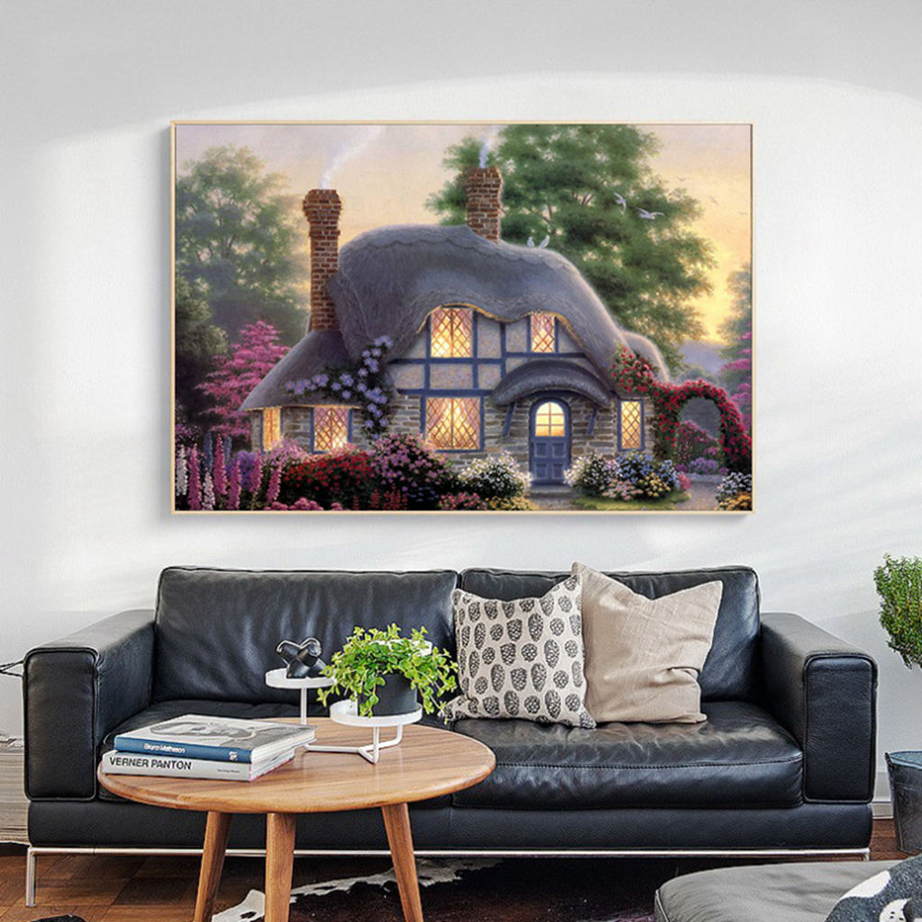 Image 3 - Hot Diamond Painting Cross Stitch Scenery,30*40cm Full Square Diamond,Diy,Diamond Embroidery Cottage,5D,Diamond Decor Gift-in Painting & Calligraphy from Home & Garden