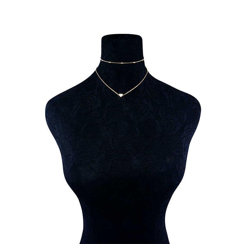 Silver Gold สี Love Heart จี้สร้อยคอสร้อยคอสั้นสร้อยคอ Choker ผู้หญิงงบเครื่องประดับของขวัญ Bijoux