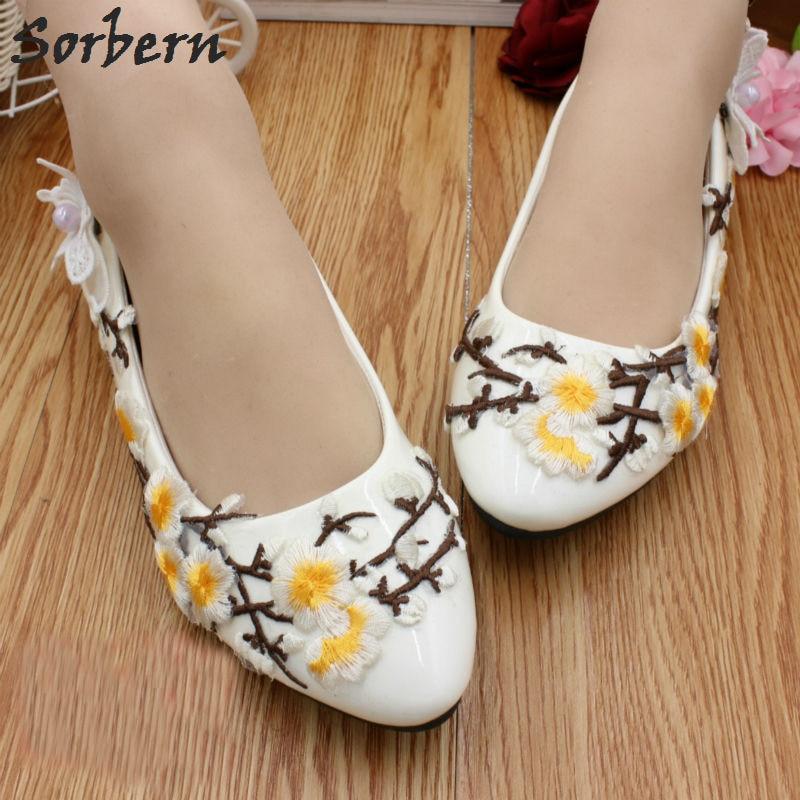 Sorbern Yellow Plum Blossom Flat Heel Women Shoes slip On Bridal Shoes Flats Embroidery Butterfly Flower Wedding Shoe New 2018 цены