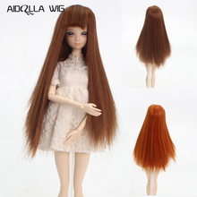 Hot Sell Synthetic Long Straight Basic Brown Color BJD Cute Doll Wig With Full Bangs Fit for Head Circumference 12.5-14cm Doll hot sell free shipping very beautiful doll long wig hair doll hot selling present for children