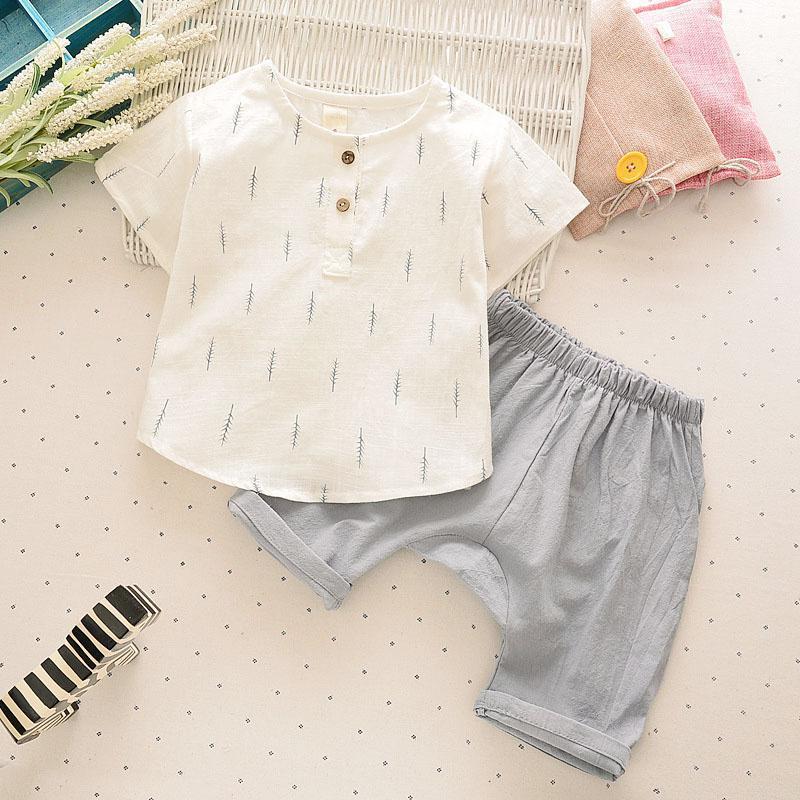 2017 Summer Children Clothing Set Boys Clothes Short T-shirt Pants Kids brand Clothes Linen Cotton Boys Child Clothing Set