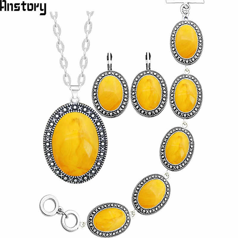 Oval Resin Bead Jewelry Set Antique Silver Plated   Necklace Earrings Bracelet Fashion Jewelry TS414