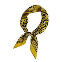 70*70cm Leopard Print Square Scarves Hijab Luxury Brand Elegant Women Silk Scarf Fashion Headband Bandana Foulard for Female